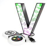 Letra do ` 3d do ` V com controlador do jogo de vídeo Imagem de Stock