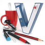 Letra do ` 3d do ` V com material do escritório Fotos de Stock Royalty Free