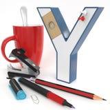 Letra do ` 3d do ` Y com material do escritório Imagem de Stock Royalty Free
