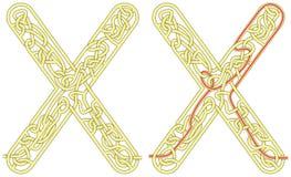 Letra X do labirinto Foto de Stock