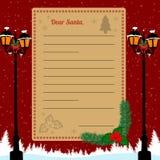 Letra do Natal a Santa Claus Foto de Stock
