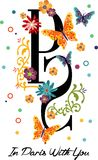 Letra do projeto de Paris e flores e borboletas gráficas Fotografia de Stock