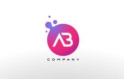 Letra Dots Logo Design do AB com bolhas na moda criativas Imagem de Stock