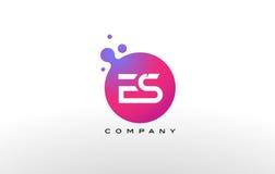 Letra Dots Logo Design do ES com bolhas na moda criativas Imagens de Stock