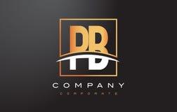 Letra dourada Logo Design do PB P B com quadrado e Swoosh do ouro Foto de Stock Royalty Free