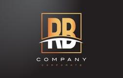 Letra dourada Logo Design do RB R B com quadrado e Swoosh do ouro Foto de Stock Royalty Free
