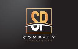 Letra dourada Logo Design do SP S P com quadrado e Swoosh do ouro Imagem de Stock