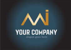 Letra dourada Logo Design Vetora do MI Imagem de Stock Royalty Free