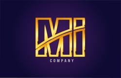 letra dourada MI m do alfabeto do ouro mim projeto do ícone da combinação do logotipo Fotos de Stock Royalty Free