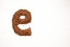 Letra E Alfabeto inglês dos cereais foto Fotos de Stock