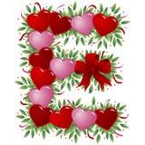 Letra E - Carta de la tarjeta del día de San Valentín ilustración del vector