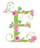 Letra E con las rosas stock de ilustración