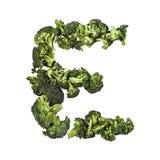 Letra E del bróculi en el fondo blanco Fotos de archivo libres de regalías