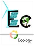 A letra E do cartão flash é para a ecologia Imagens de Stock