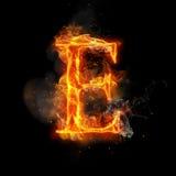 Letra E do fogo de luz ardente da chama ilustração stock