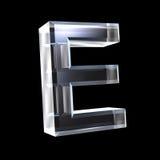 Letra E en el vidrio 3D Fotos de archivo libres de regalías