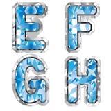 Letra E F G H de la gema ilustración del vector