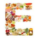Letra E feita do alimento fotografia de stock