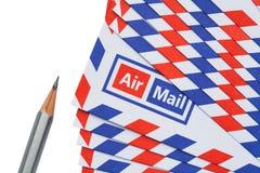 Letra e lápis de correio aéreo Fotos de Stock