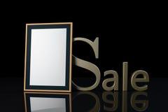 Letra e moldura para retrato da venda no fundo preto illustratio 3D Foto de Stock Royalty Free