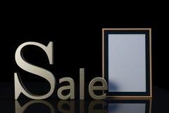 Letra e moldura para retrato da venda no fundo preto illustratio 3D Imagem de Stock Royalty Free