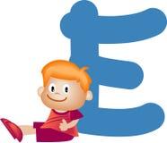 Letra E (muchacho) del alfabeto stock de ilustración