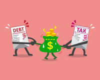 A letra e o imposto do débito do personagem de banda desenhada rotulam puxar o saco do dinheiro Fotografia de Stock Royalty Free