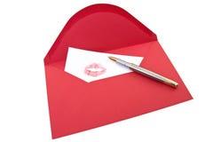 Letra e pena de amor Imagens de Stock Royalty Free