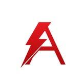 Letra eléctrica del perno rojo del vector un logotipo Fotografía de archivo libre de regalías