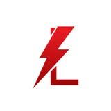 Letra eléctrica L logotipo del perno rojo del vector Fotografía de archivo libre de regalías