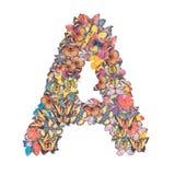 Letra el alfabeto de A con la mariposa Imagen de archivo