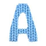 Letra el alfabeto inglés de A, azul del color Imagen de archivo