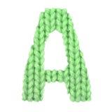 Letra el alfabeto inglés de A, verde del color Imagen de archivo libre de regalías