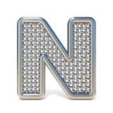 LETRA esboçada N 3D da fonte da rede de arame do metal Imagens de Stock Royalty Free