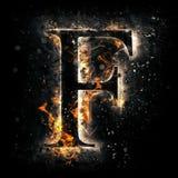 Letra F del fuego Imagenes de archivo