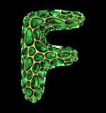 letra F do diamante 3D no preto isolado ilustração stock