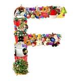 Letra F, para la decoración de la Navidad Foto de archivo libre de regalías
