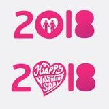 Letra feliz del arte de papel del vector del dibujo de la mano del día de tarjetas del día de San Valentín 2018 stock de ilustración