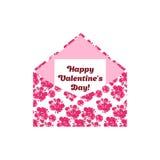 Letra feliz do cumprimento do dia de Valentim no envelope Flores cor-de-rosa Fotos de Stock Royalty Free