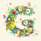 Letra G, diseño floral