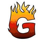 Letra G do alfabeto das flamas Foto de Stock