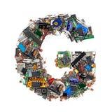 Letra G feita de componentes eletrônicos fotografia de stock