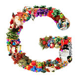 Letra G, para la decoración de la Navidad Foto de archivo libre de regalías