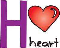 Letra H - coração ilustração royalty free