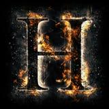 Letra H del fuego Imagen de archivo libre de regalías