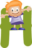 Letra H do alfabeto (menino) Imagens de Stock