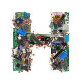 Letra H hecha de componentes electrónicos imagen de archivo libre de regalías