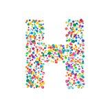 Letra h llenado de confeti denso de la acuarela encendido ilustración del vector