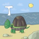 Letra ilustrada T del alfabeto y tortuga Historieta del vector de la imagen del libro de ABC Tortuga en la playa por el mar Niños stock de ilustración