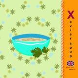 Letra inglesa X Sopa de Javier Foto de archivo libre de regalías